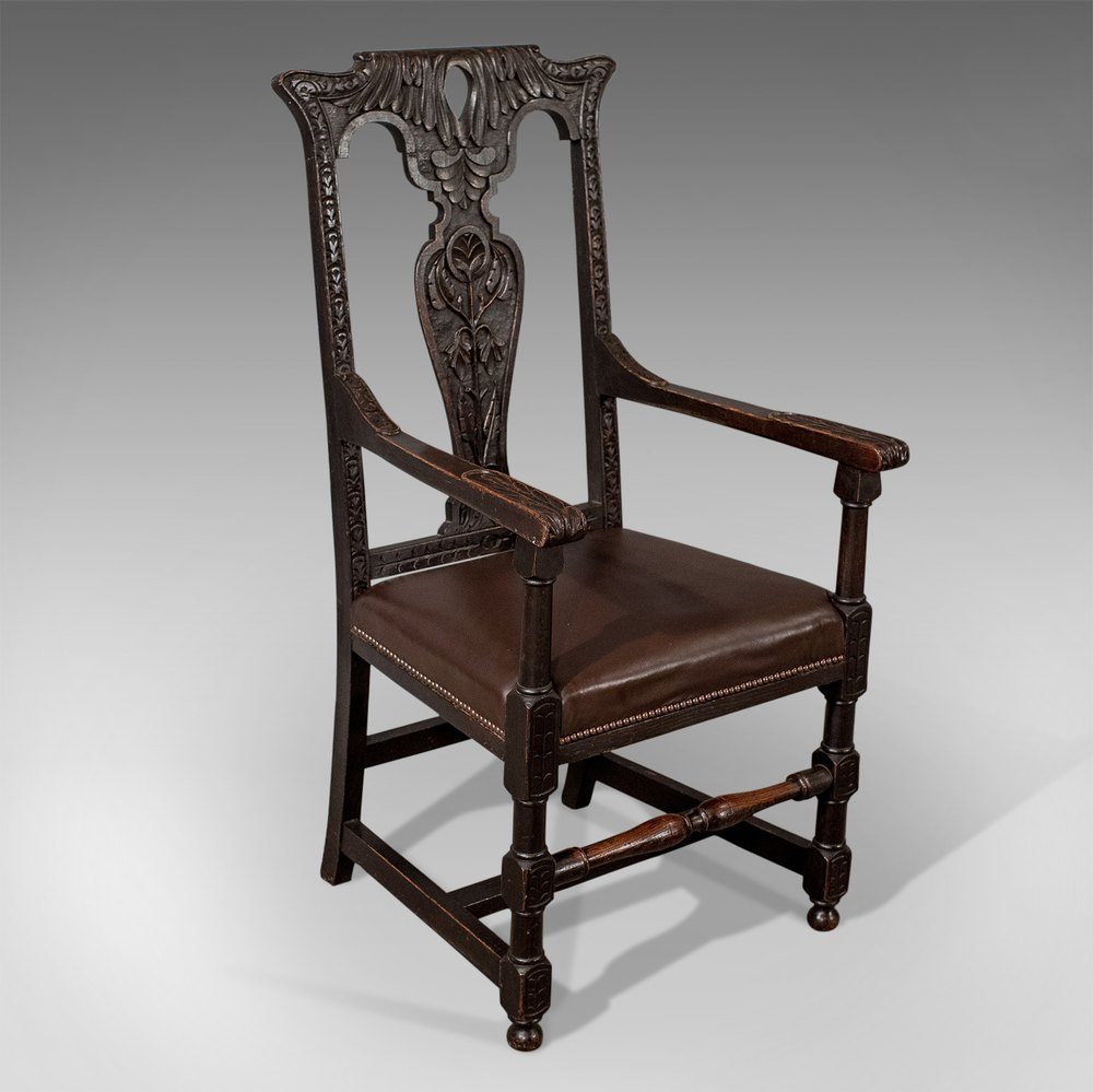upholstered dining chairs with oak legs the ugly chair tupelo ms antique carver elbow hall leather - antiques atlas