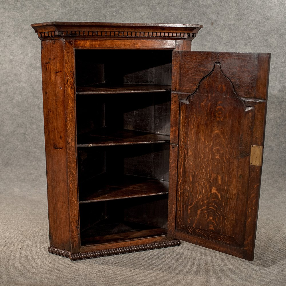 Antique Oak Corner Cabinet Wall Cupboard Quality