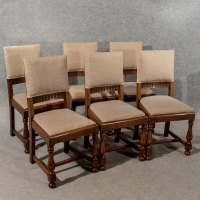 Antique Oak Set 6 Six Dining Or Kitchen Chairs - Antiques ...