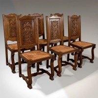 Antique Oak Set Of 6 French Kitchen Dining Chairs ...
