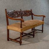 Antique Oak Settee Sofa Upholstered Bench - Antiques Atlas
