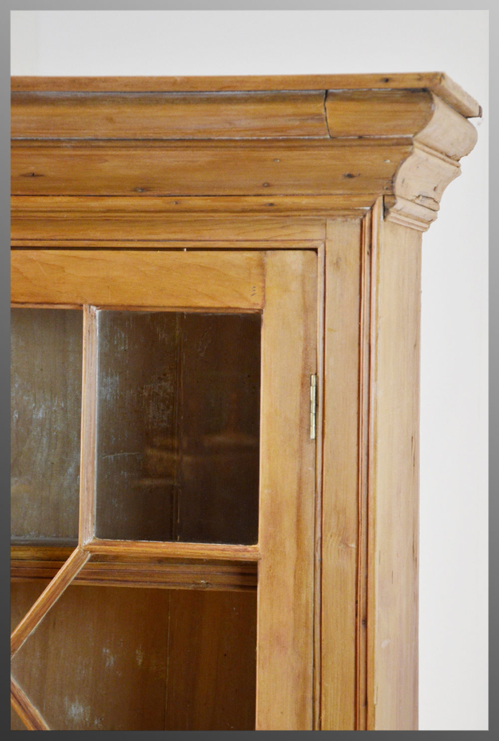 Antique Pine Bookcase Display Wall Cabinet  Antiques Atlas