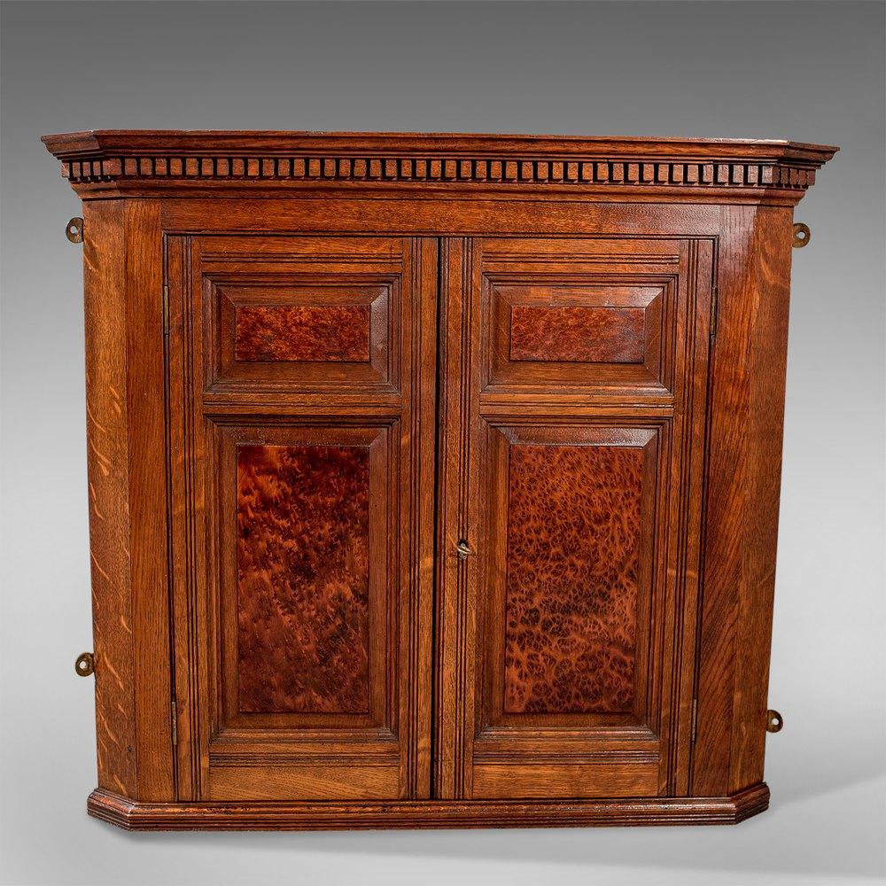 Antique Small Corner Wall Cabinet Cupboard Oak  Antiques