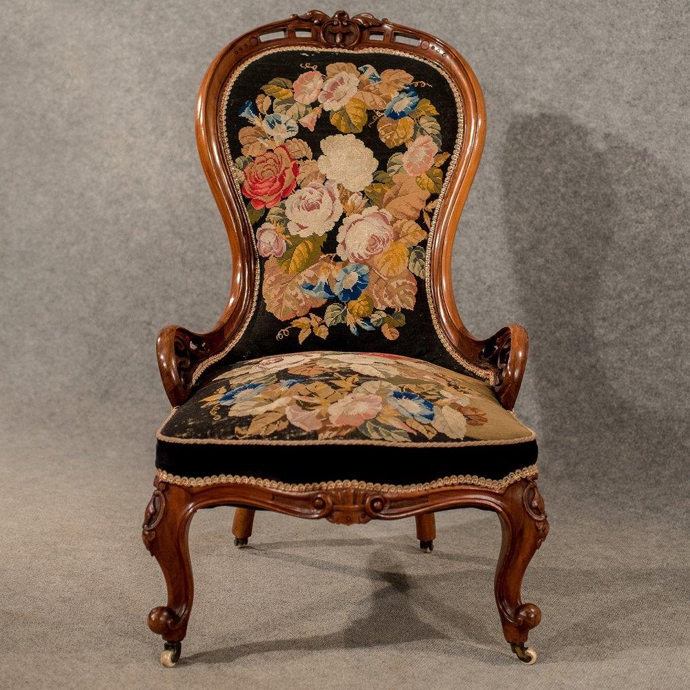 Antique Walnut Spoon Back Armchair Chair  Antiques Atlas