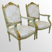 French Pair Chairs Louis XVl Neoclassical Gilt - Antiques ...