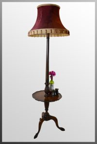 Antiques Atlas - Standard Lamp Wine Table & Shade Tall Floor