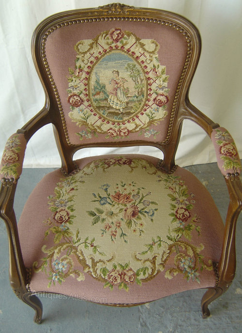 antique queen anne chair potty with tray a french louis xv style tapestry (1) - antiques atlas