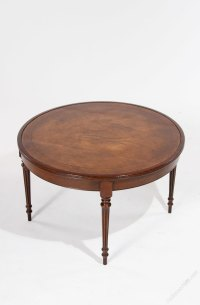Mahogany Leather Topped Circular Coffee Table - Antiques Atlas