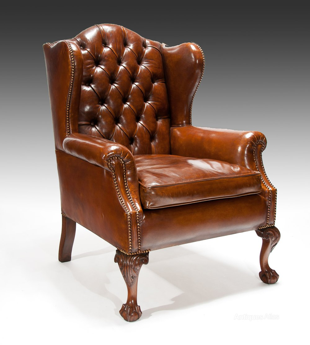 Quality 19th Century Mahogany Leather Wing Back Ar