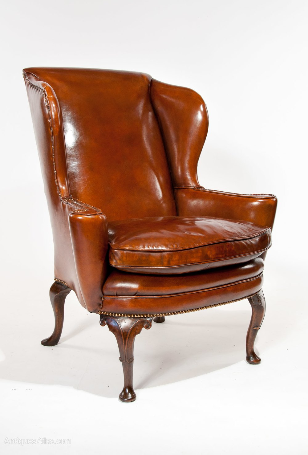 Superb Quality Antique Leather Wing Chair  Antiques Atlas