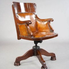 Desk Chair Made Patio With Ottoman Underneath W M Angus Co London Leather Antiques Atlas