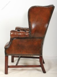 Pair Of Brown Leather Wing Chairs - Antiques Atlas