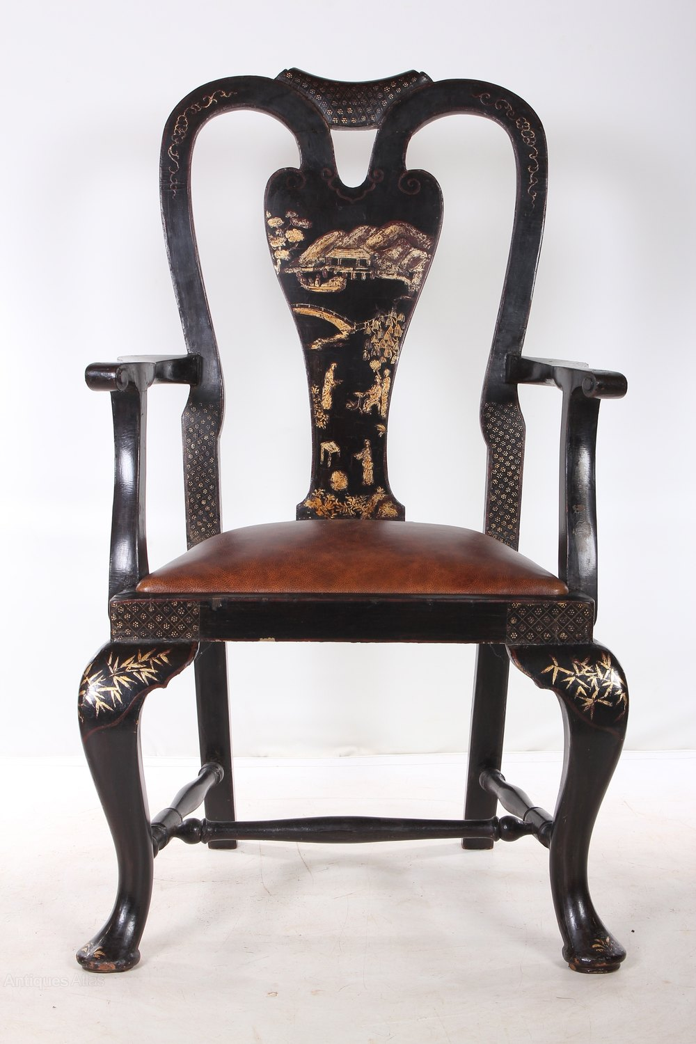 queen anne style chair florida electric set of 6 black chinoiserie chairs - antiques atlas