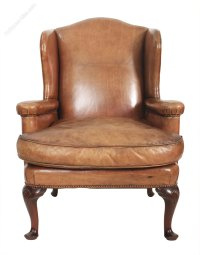 Stunning Leather Library Wing Chair - Antiques Atlas