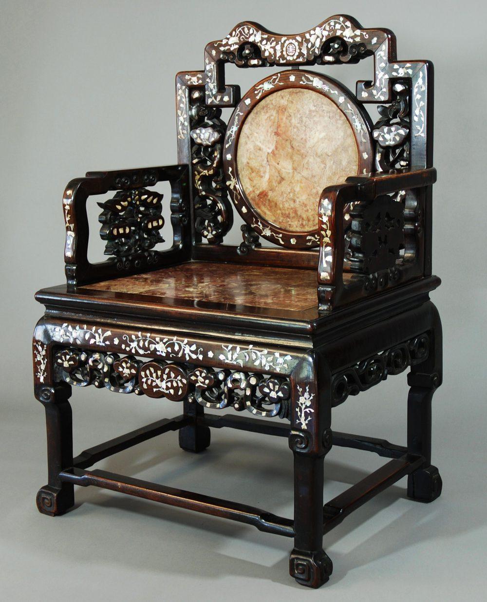 19thc Chinese Qing Dynasty Inlaid Hongmu Chair  Antiques