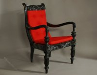 A Carved Solid Ebony Chair From The Galle District ...