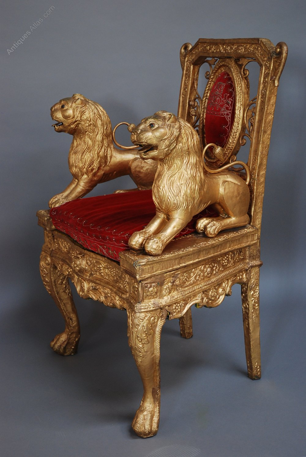 gold velvet chair portable massage reviews mid/late 19th century indian throne - antiques atlas