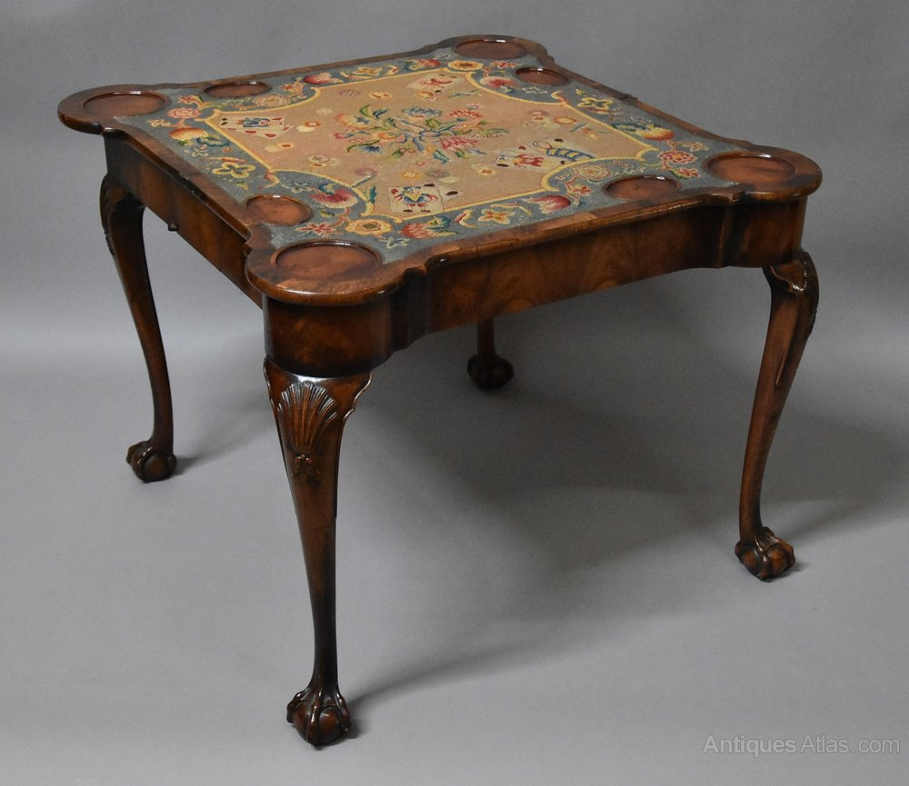 Queen Anne Style Walnut Cardgames Table  Antiques Atlas