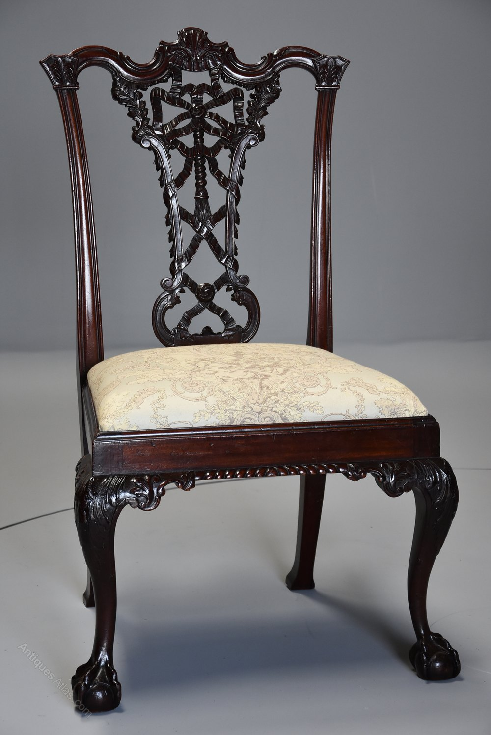 fabric dining chairs uk chair covers and sashes near me set of six ribbon back chippendale style - antiques atlas