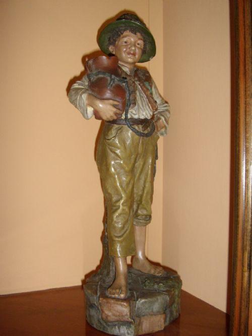 Antiques Atlas Rare Austrian Terracotta Hand Painted Boy