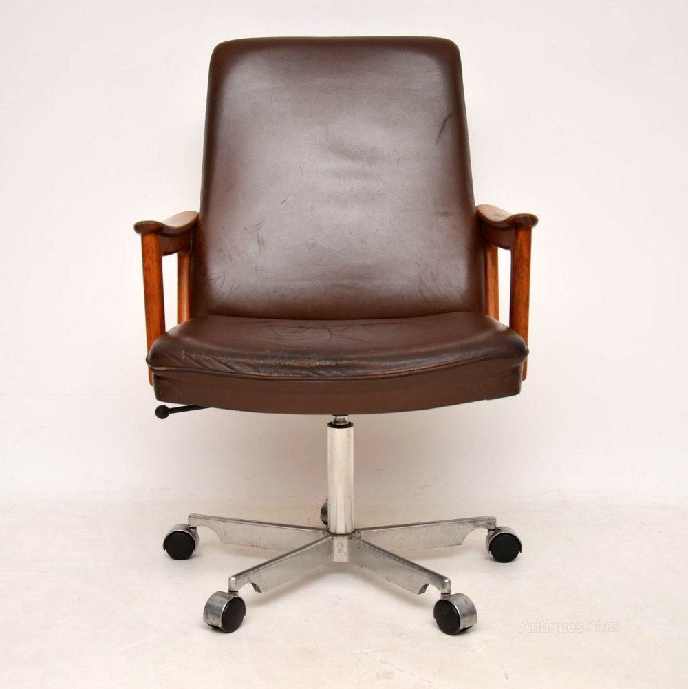 teak wood revolving chair hanging canada indoor antiques atlas 1960 s danish leather swivel desk vintage and chairs