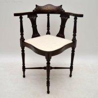 Antique Edwardian Inlaid Mahogany Corner Chair - Antiques ...