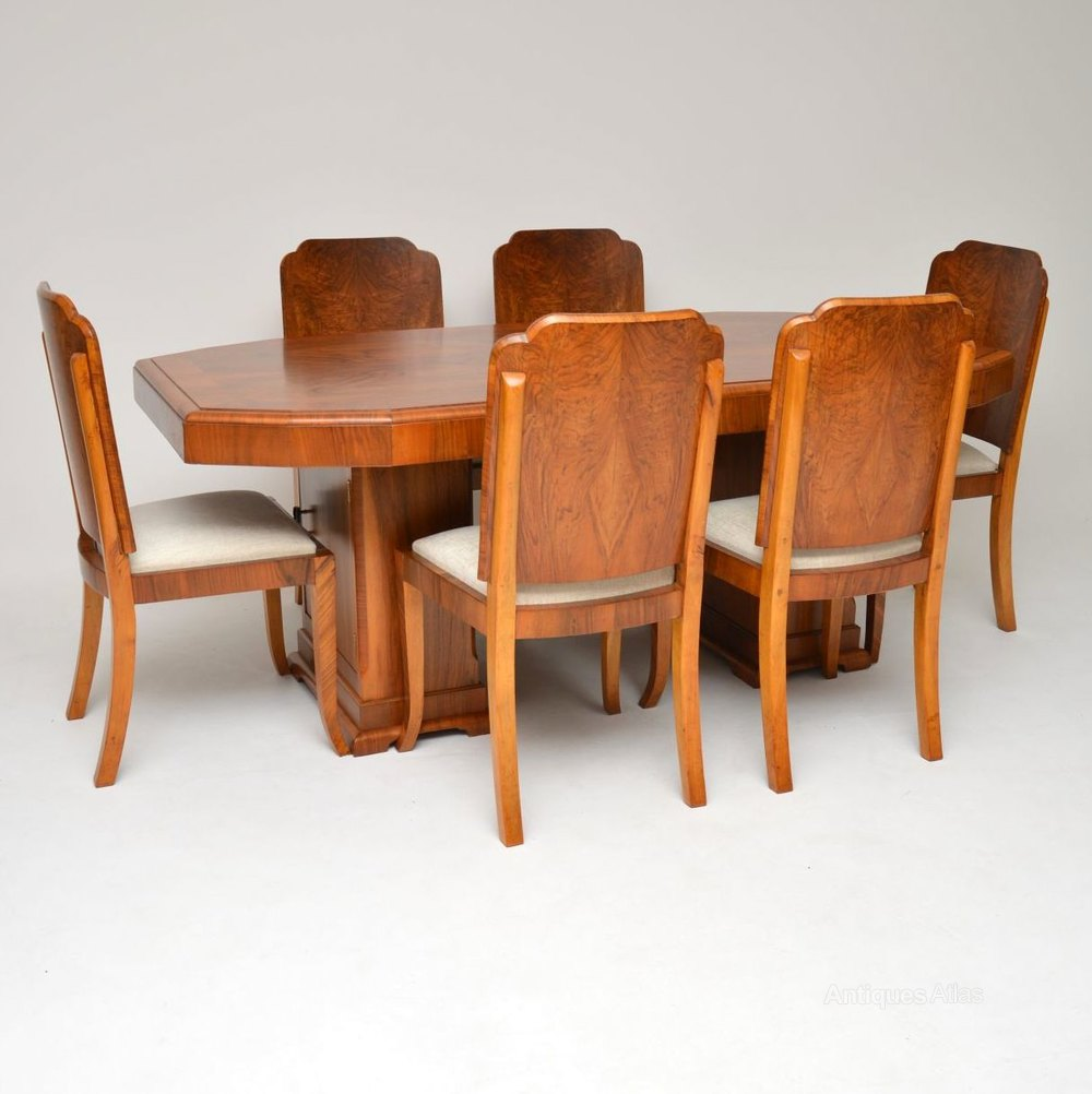 Art Deco Dining Chairs Art Deco Walnut Dining Table Chairs