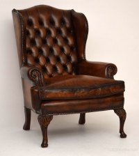 Pair Of Antique Leather Wing Armchairs - Antiques Atlas