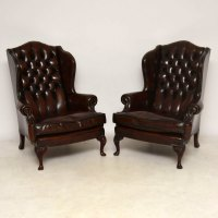 Pair Of Antique Leather Wing Back Armchairs - Antiques Atlas