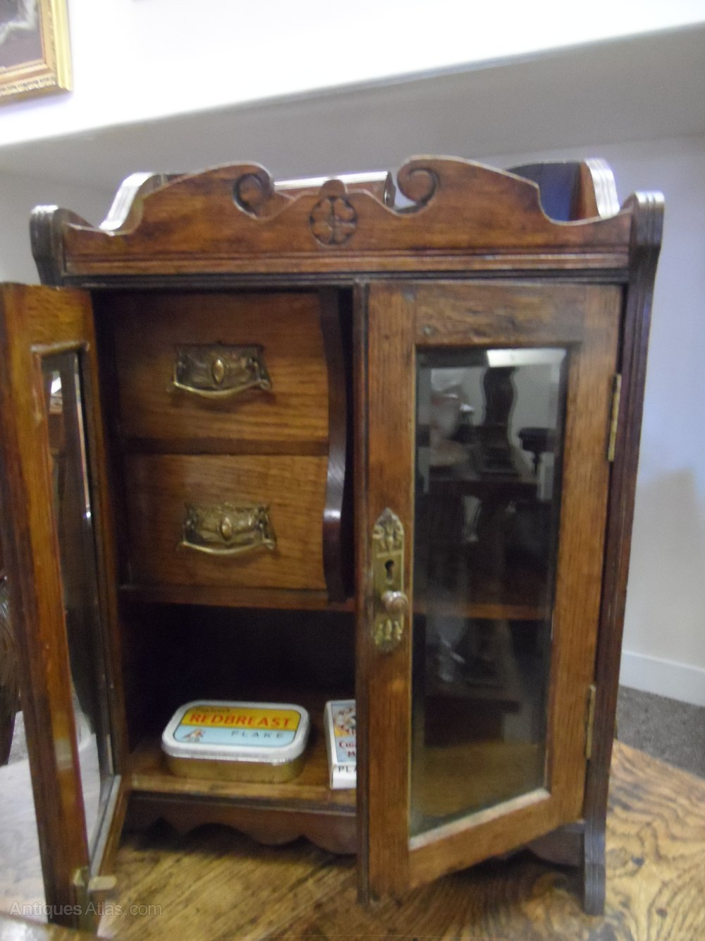 Super Victorian Oak Smokers Cabinet  Antiques Atlas