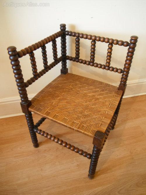 Arts  Crafts Bobbin Turned Liberty Corner Chair