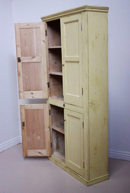 19th Century Antique Painted Pine Kitchen Cupboard