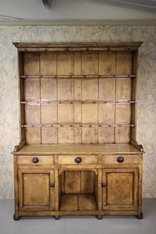 Antique Welsh Dresser In Original Cream Paint  Antiques