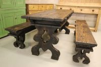 Edwardian Antique Pine Dining Table & Benches - Antiques Atlas