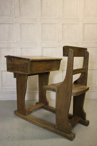 Edwardian Antique Oak Childs School Desk  Chair