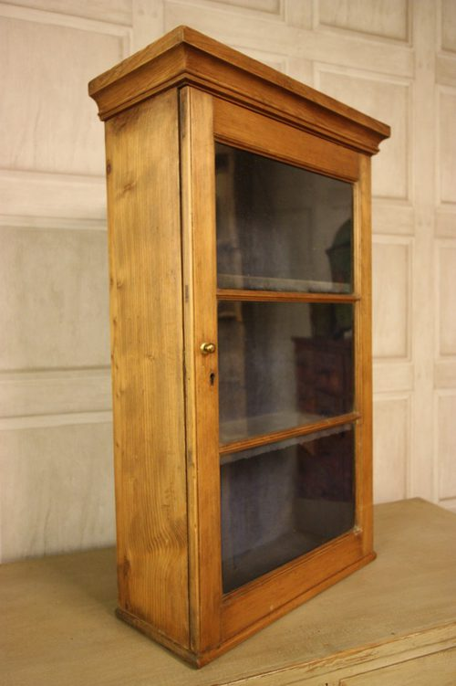 Georgian Antique Pine Wine Glass Wall Cabinet  Antiques