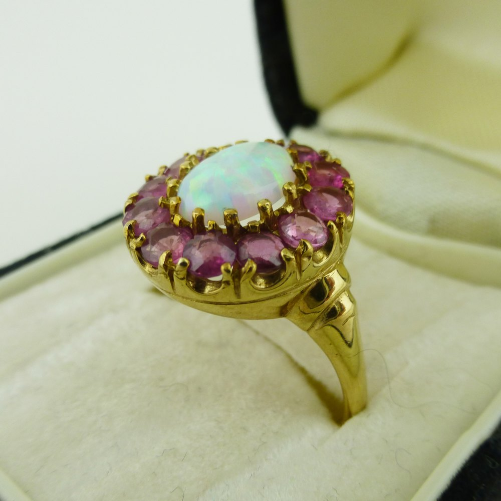 Antiques Atlas  A Gorgeous Opal And Ruby Ring 9Ct Gold