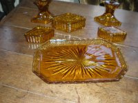 Antiques Atlas - Vintage Amber Glass Dressing Table Set
