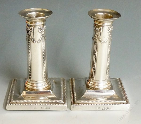Antiques Atlas - Pair Of Silver Candlesticks