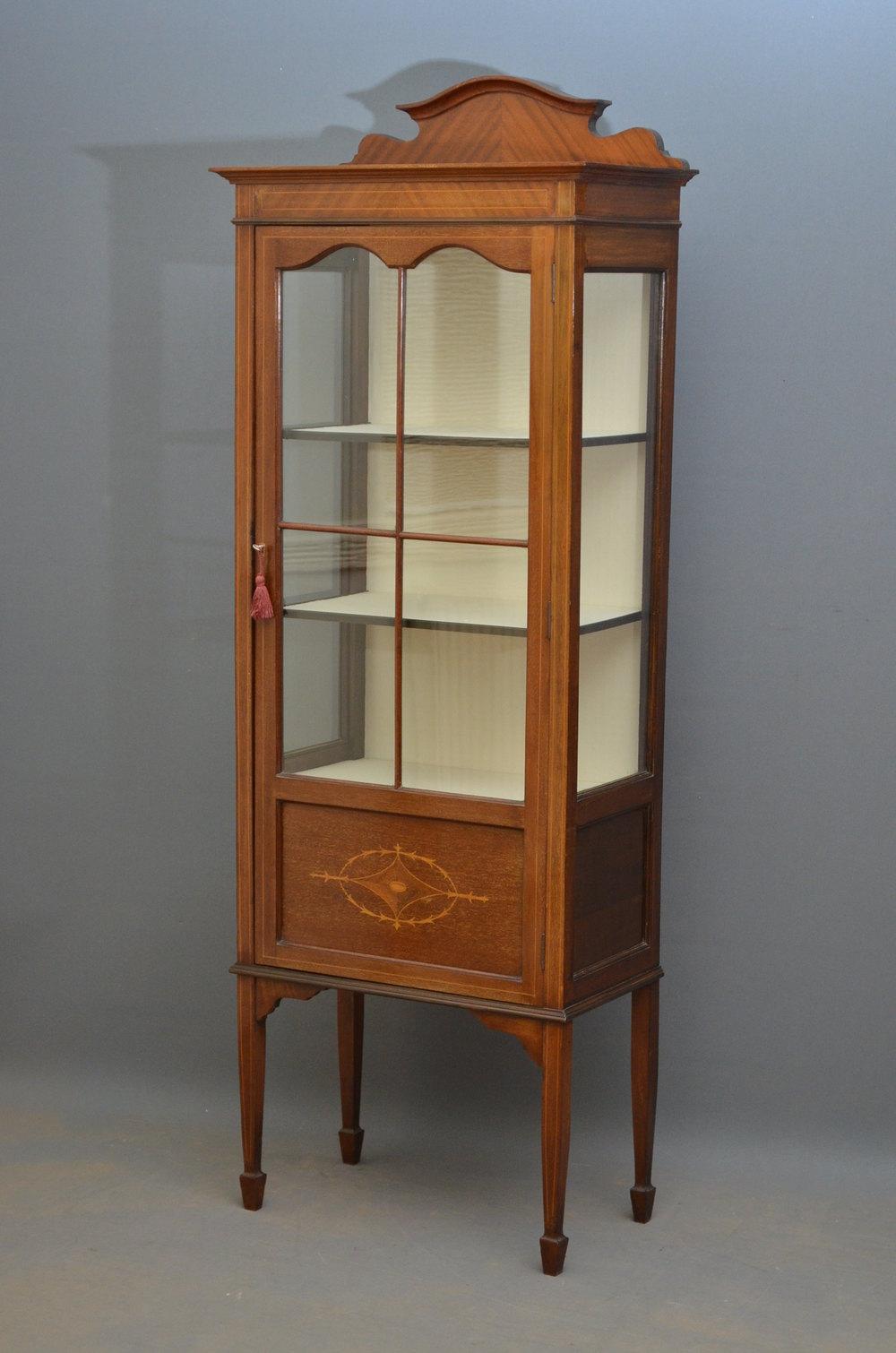 Slim Edwardian Display Cabinet  Vitrine  Antiques Atlas