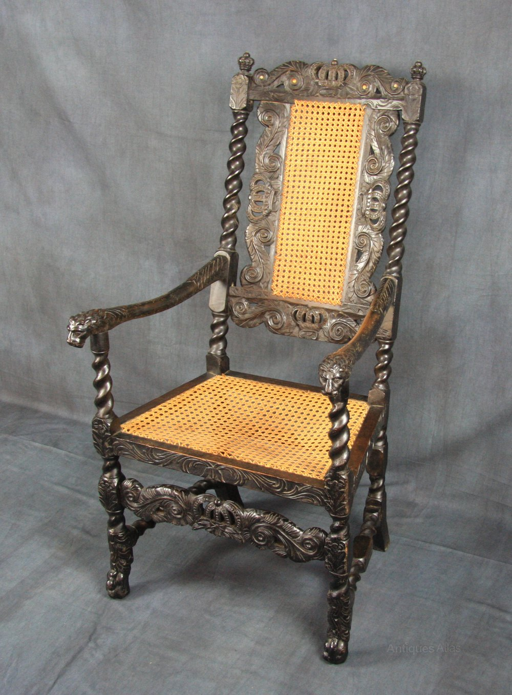 cane back chairs antique girl potty charles ii walnut armchair - antiques atlas