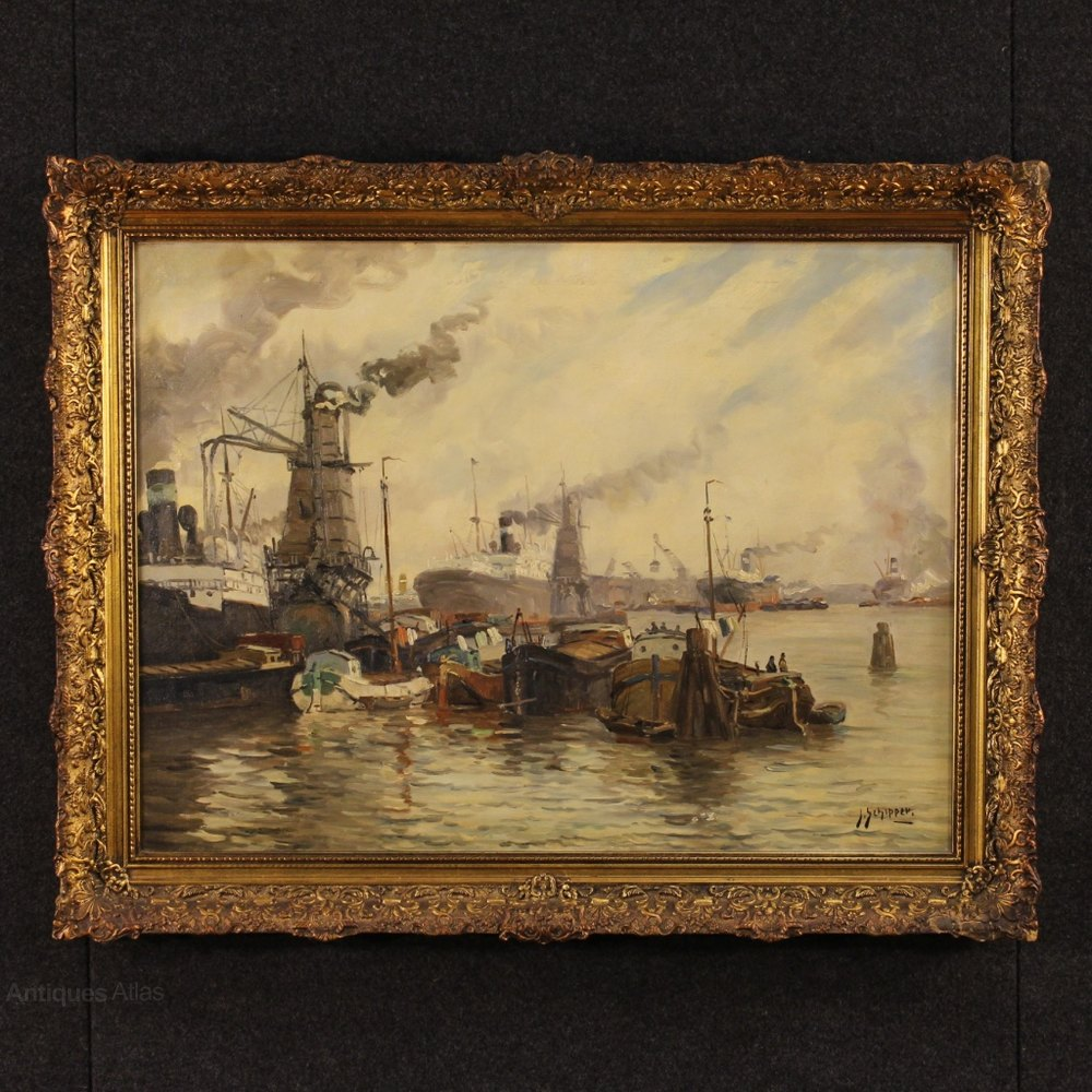 Antiques Atlas  20th Century Dutch Painting Port View