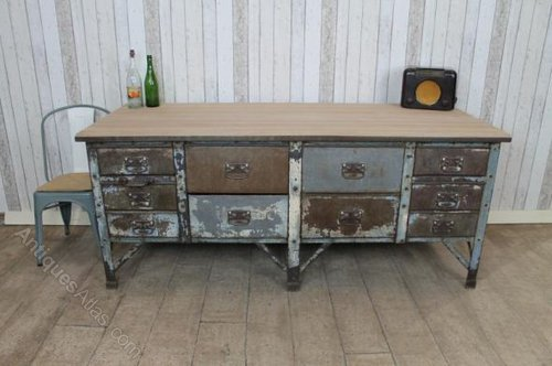 metal kitchen island childs antiques atlas 1930s sideboard bakers table
