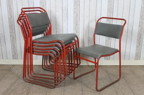 upholstered stacking chairs 8 chair patio dining set antiques atlas with red frames