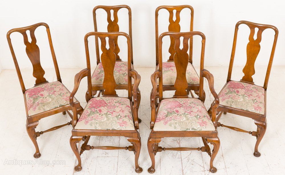 queen anne style chairs diy chair swing set of 6 4 2 walnut antiques atlas