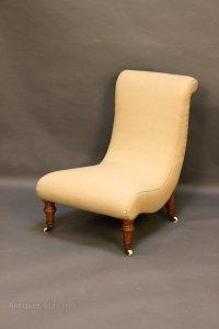 19thc Walnut Slipper Nursing Chair - Antiques Atlas