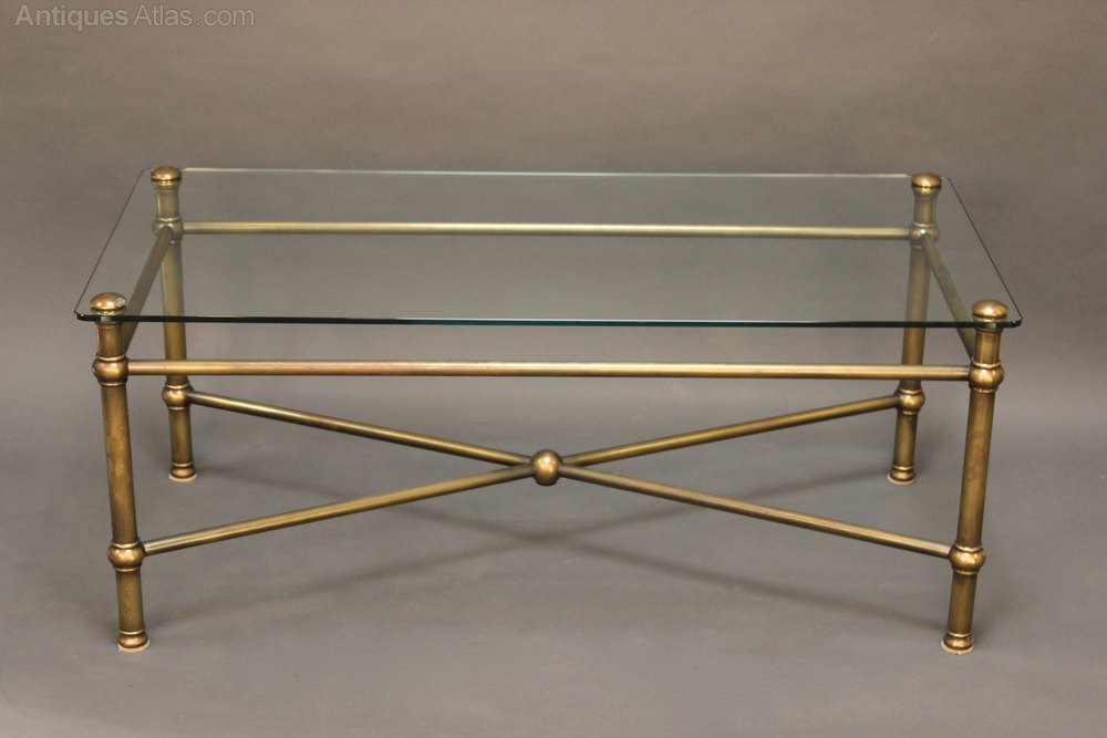 20thc glass and brass coffee table