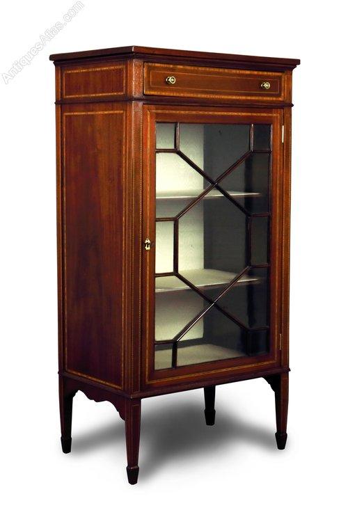 Mahogany  Inlaid Small Display Cabinet  Antiques Atlas
