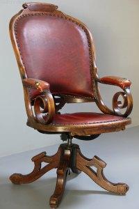 Antique Oak Swivel Desk Chair. - Antiques Atlas
