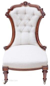 19C Victorian Inlaid Walnut Nursing Chair Armchair ...